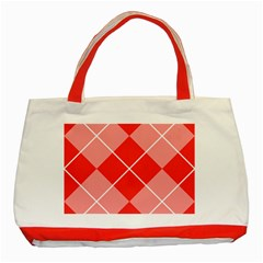 Plaid Triangle Line Wave Chevron Red White Beauty Argyle Classic Tote Bag (red)