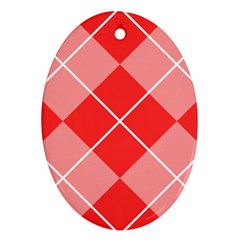 Plaid Triangle Line Wave Chevron Red White Beauty Argyle Oval Ornament (two Sides) by Alisyart