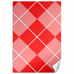 Plaid Triangle Line Wave Chevron Red White Beauty Argyle Canvas 20  X 30   by Alisyart
