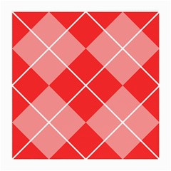 Plaid Triangle Line Wave Chevron Red White Beauty Argyle Medium Glasses Cloth (2 Side) by Alisyart