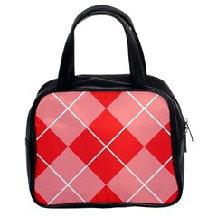 Plaid Triangle Line Wave Chevron Red White Beauty Argyle Classic Handbags (2 Sides) by Alisyart