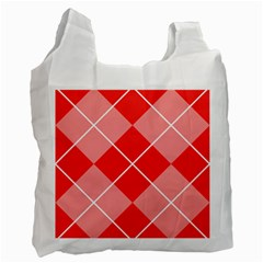 Plaid Triangle Line Wave Chevron Red White Beauty Argyle Recycle Bag (one Side) by Alisyart