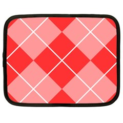 Plaid Triangle Line Wave Chevron Red White Beauty Argyle Netbook Case (xxl)