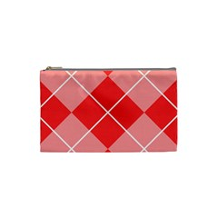 Plaid Triangle Line Wave Chevron Red White Beauty Argyle Cosmetic Bag (small)