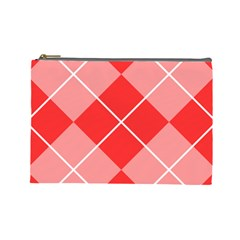 Plaid Triangle Line Wave Chevron Red White Beauty Argyle Cosmetic Bag (large)  by Alisyart