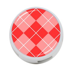 Plaid Triangle Line Wave Chevron Red White Beauty Argyle 4 Port Usb Hub (two Sides)