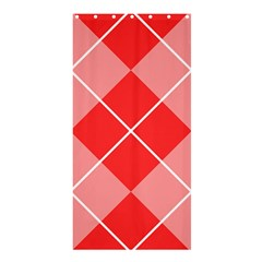 Plaid Triangle Line Wave Chevron Red White Beauty Argyle Shower Curtain 36  X 72  (stall)
