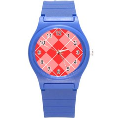 Plaid Triangle Line Wave Chevron Red White Beauty Argyle Round Plastic Sport Watch (s) by Alisyart