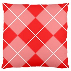 Plaid Triangle Line Wave Chevron Red White Beauty Argyle Large Cushion Case (two Sides)