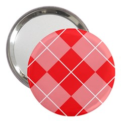 Plaid Triangle Line Wave Chevron Red White Beauty Argyle 3  Handbag Mirrors by Alisyart