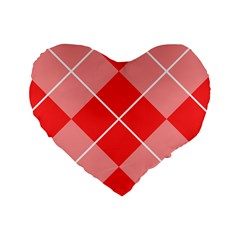 Plaid Triangle Line Wave Chevron Red White Beauty Argyle Standard 16  Premium Heart Shape Cushions by Alisyart