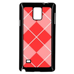 Plaid Triangle Line Wave Chevron Red White Beauty Argyle Samsung Galaxy Note 4 Case (black)