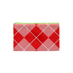 Plaid Triangle Line Wave Chevron Red White Beauty Argyle Cosmetic Bag (xs)