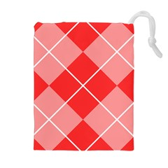 Plaid Triangle Line Wave Chevron Red White Beauty Argyle Drawstring Pouches (extra Large) by Alisyart