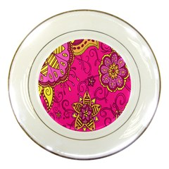 Pink Lemonade Flower Floral Rose Sunflower Leaf Star Pink Porcelain Plates by Alisyart