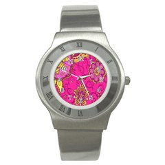 Pink Lemonade Flower Floral Rose Sunflower Leaf Star Pink Stainless Steel Watch by Alisyart