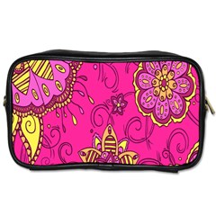 Pink Lemonade Flower Floral Rose Sunflower Leaf Star Pink Toiletries Bags by Alisyart