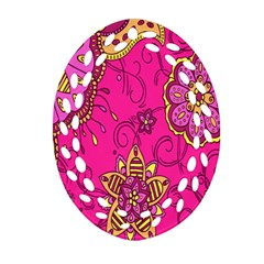Pink Lemonade Flower Floral Rose Sunflower Leaf Star Pink Ornament (oval Filigree)