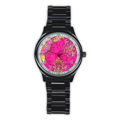 Pink Lemonade Flower Floral Rose Sunflower Leaf Star Pink Stainless Steel Round Watch by Alisyart