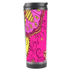 Pink Lemonade Flower Floral Rose Sunflower Leaf Star Pink Travel Tumbler by Alisyart