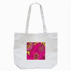Pink Lemonade Flower Floral Rose Sunflower Leaf Star Pink Tote Bag (white) by Alisyart