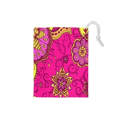 Pink Lemonade Flower Floral Rose Sunflower Leaf Star Pink Drawstring Pouches (small)