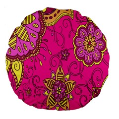 Pink Lemonade Flower Floral Rose Sunflower Leaf Star Pink Large 18  Premium Flano Round Cushions