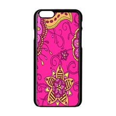 Pink Lemonade Flower Floral Rose Sunflower Leaf Star Pink Apple Iphone 6/6s Black Enamel Case by Alisyart