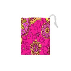 Pink Lemonade Flower Floral Rose Sunflower Leaf Star Pink Drawstring Pouches (xs)