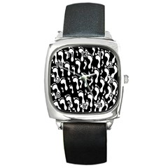 Population Soles Feet Foot Black White Square Metal Watch