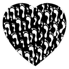 Population Soles Feet Foot Black White Jigsaw Puzzle (heart) by Alisyart