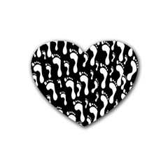 Population Soles Feet Foot Black White Rubber Coaster (heart)  by Alisyart