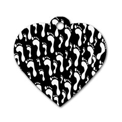 Population Soles Feet Foot Black White Dog Tag Heart (two Sides) by Alisyart