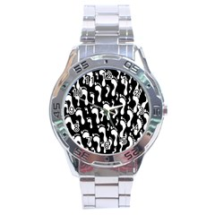 Population Soles Feet Foot Black White Stainless Steel Analogue Watch by Alisyart