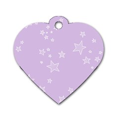 Star Lavender Purple Space Dog Tag Heart (one Side)
