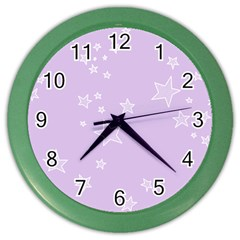 Star Lavender Purple Space Color Wall Clocks by Alisyart