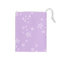 Star Lavender Purple Space Drawstring Pouches (medium)  by Alisyart