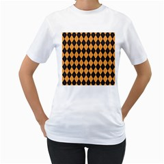 Plaid Triangle Line Wave Chevron Yellow Red Blue Orange Black Beauty Argyle Women s T Shirt (white) (two Sided) by Alisyart