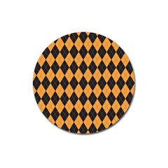 Plaid Triangle Line Wave Chevron Yellow Red Blue Orange Black Beauty Argyle Magnet 3  (round) by Alisyart