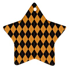 Plaid Triangle Line Wave Chevron Yellow Red Blue Orange Black Beauty Argyle Star Ornament (two Sides)