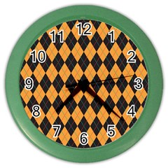 Plaid Triangle Line Wave Chevron Yellow Red Blue Orange Black Beauty Argyle Color Wall Clocks