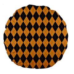Plaid Triangle Line Wave Chevron Yellow Red Blue Orange Black Beauty Argyle Large 18  Premium Round Cushions by Alisyart