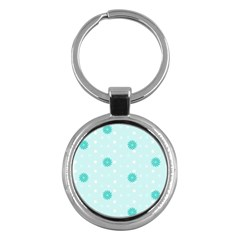 Star White Fan Blue Key Chains (round)  by Alisyart