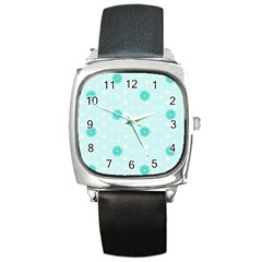 Star White Fan Blue Square Metal Watch