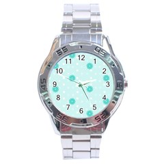 Star White Fan Blue Stainless Steel Analogue Watch