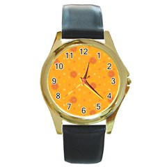 Star White Fan Orange Gold Round Gold Metal Watch by Alisyart