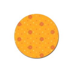 Star White Fan Orange Gold Magnet 3  (round)