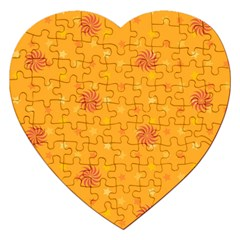 Star White Fan Orange Gold Jigsaw Puzzle (heart)