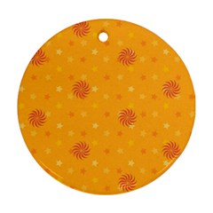 Star White Fan Orange Gold Round Ornament (two Sides)