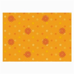 Star White Fan Orange Gold Large Glasses Cloth (2 Side) by Alisyart